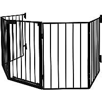 LABT Kaminschutzgitter Baby Absperrgitter Türschutzgitter Ofenschutzgitter, 5-teiliges Set mit komfortabler Tür   Schutzgitter pulverbeschichtetes Metall, Matt-Schwarz