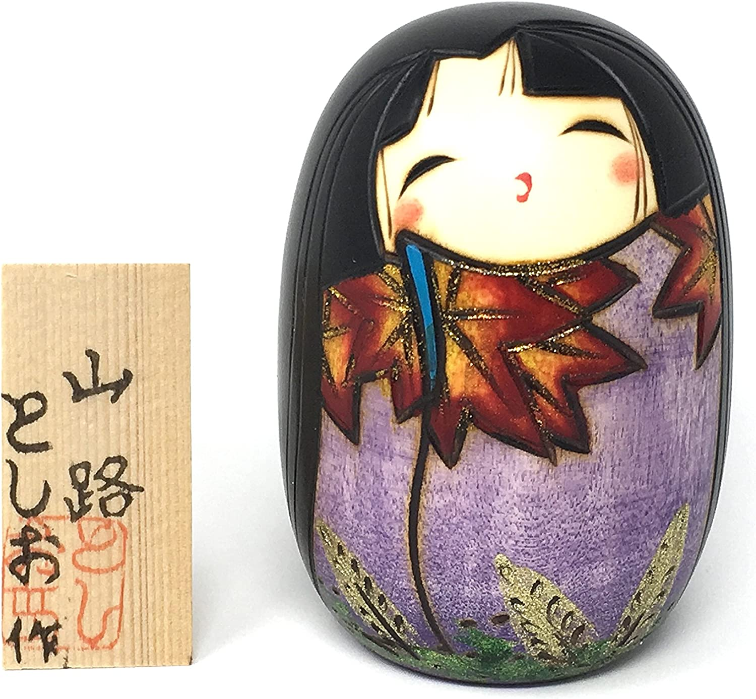 Kokeshi Doll Yamaji Purple Kimono with Japanese Maple Leaves