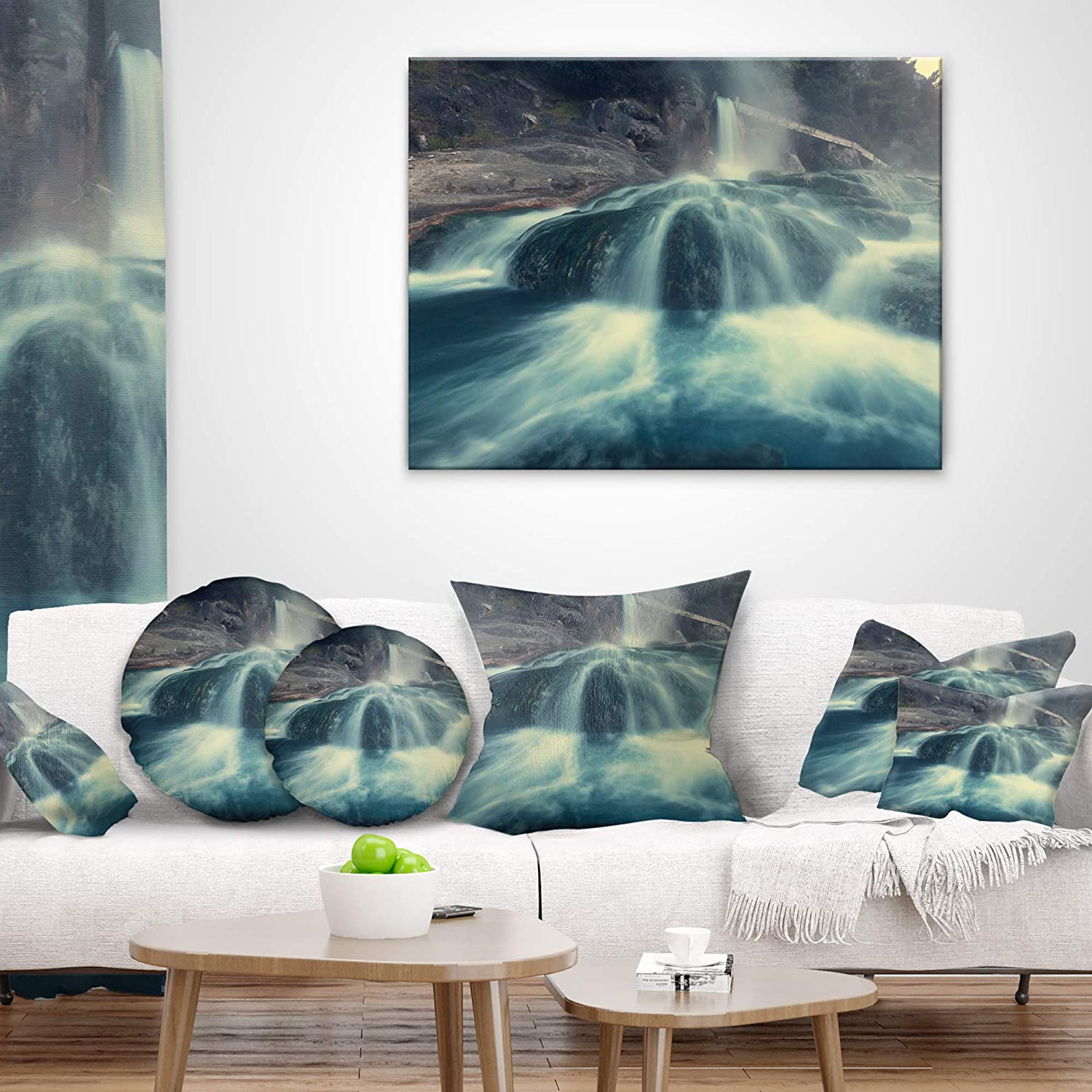 Insert Printed On Both Side Designart CU12233-26-26 Hot Spring thermopiles Greece Seascape Cushion Cover for Living Room Sofa Throw Pillow 26 in x 26 in in