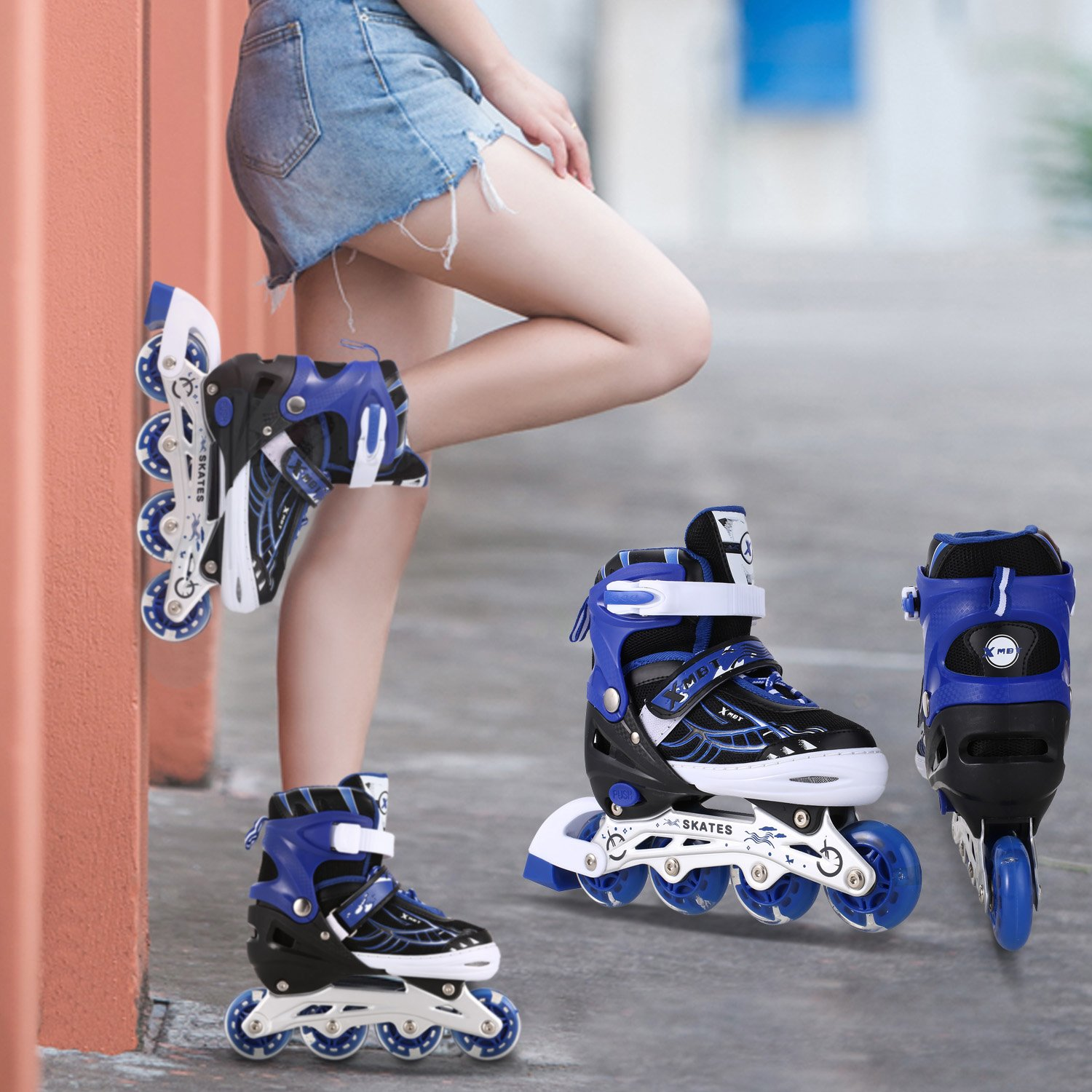 Anfan 3 Sizes Adjustable Inline Skates Adults Kids Rollerblades with Breathable Mesh Eight Illuminating Wheels Aluminum Frame(US Stock) (Blue, US 5-8)