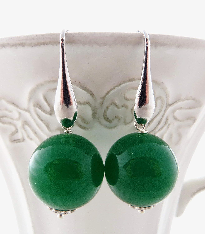 Pendientes de jade verde esmeralda y plata 925, joyas con piedras naturales, estilo moderno, made in italy, regalo para ella