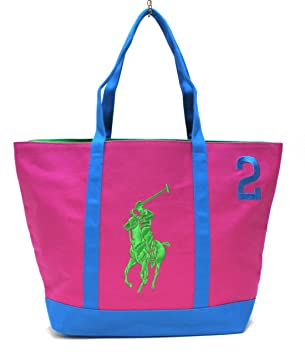 RALPH LAUREN THE BIG PONY COLLECTION PINK   BLUE  2 BEACH   TOTE BAG ... 067c14d7f7