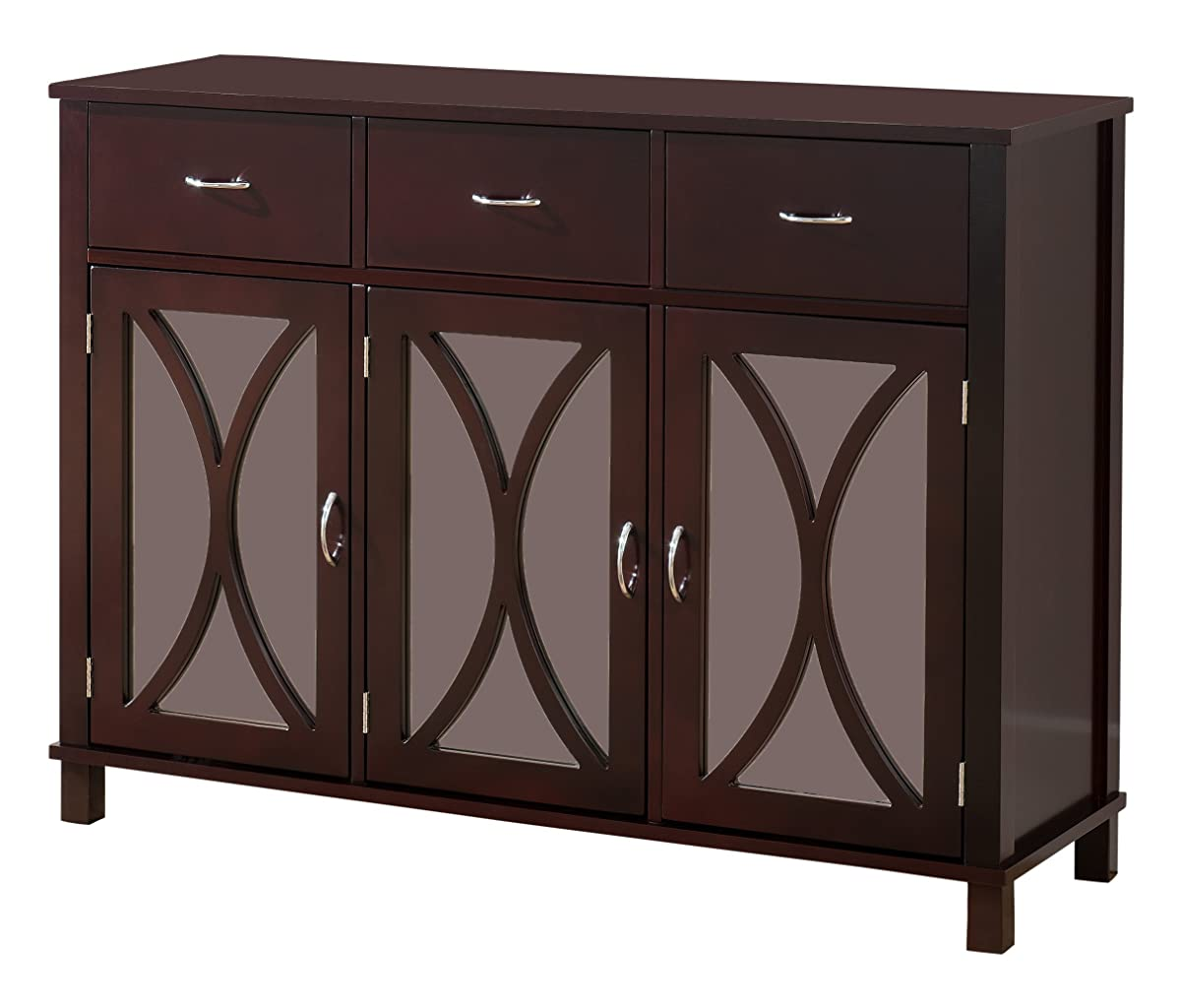 Kings Brand Rutheron Buffet Server Cabinet/Console Table, Mirrored Doors, Espresso