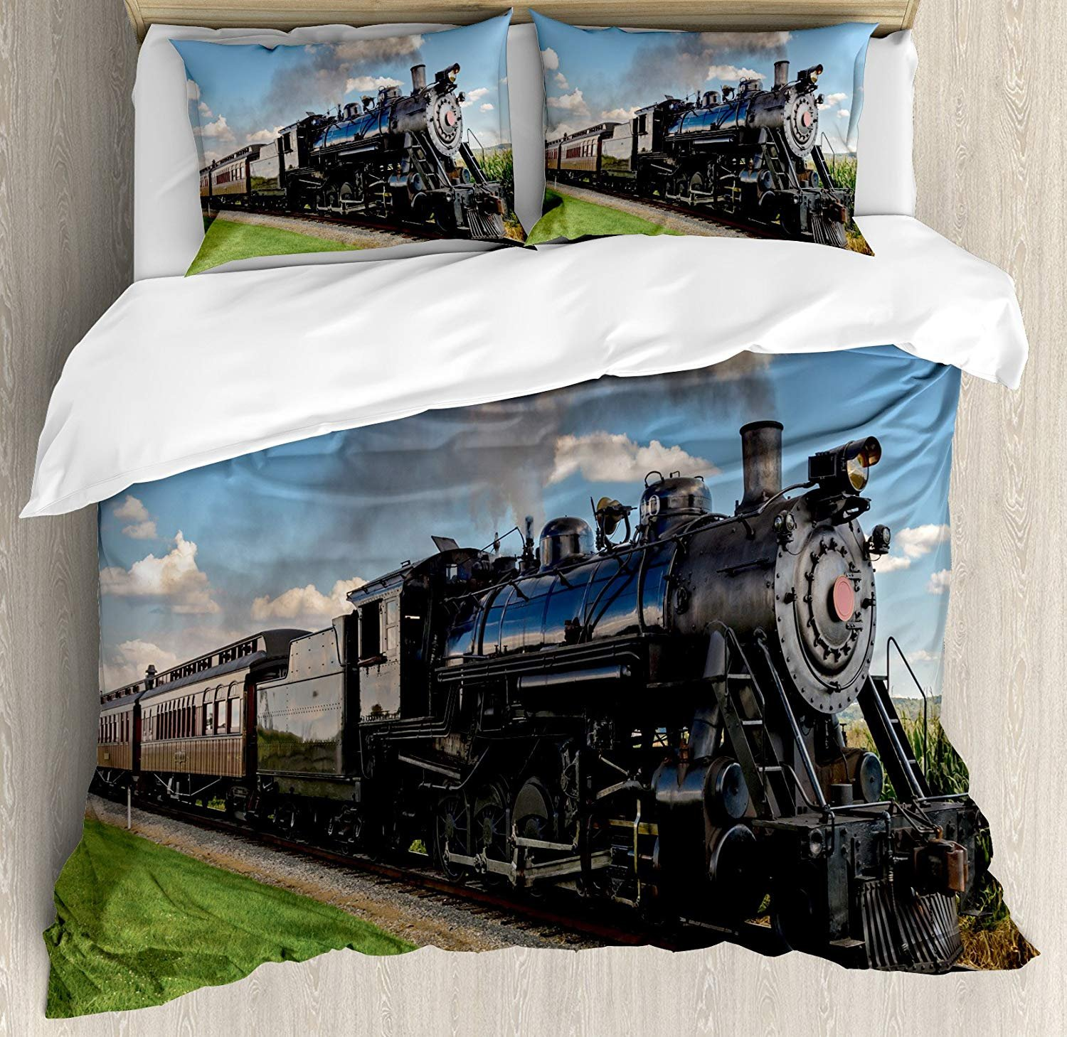 Full Size Steam Engine 3 PCS Duvet Cover Set, Vintage Locomotive in Countryside Scenery Green Grass Puff Train Picture, Bedding Set Quilt Bedspread for Children/Teens/Adults/Kids, Blue Green Black