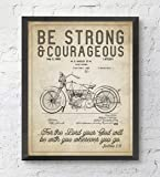 Be Strong and Courageous Joshua 1:9 Bible Verse Patent ART PRINT, UNFRAMED, Vintage Harley Davidson Motorcycle Patent, Christian Wall art decor poster sign, ALL SIZES