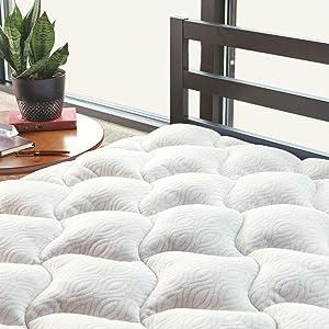 ViscoSoft Copper Mattress Pad Queen   Extra Plush Pillowtop Mattress Topper for Pain Relief