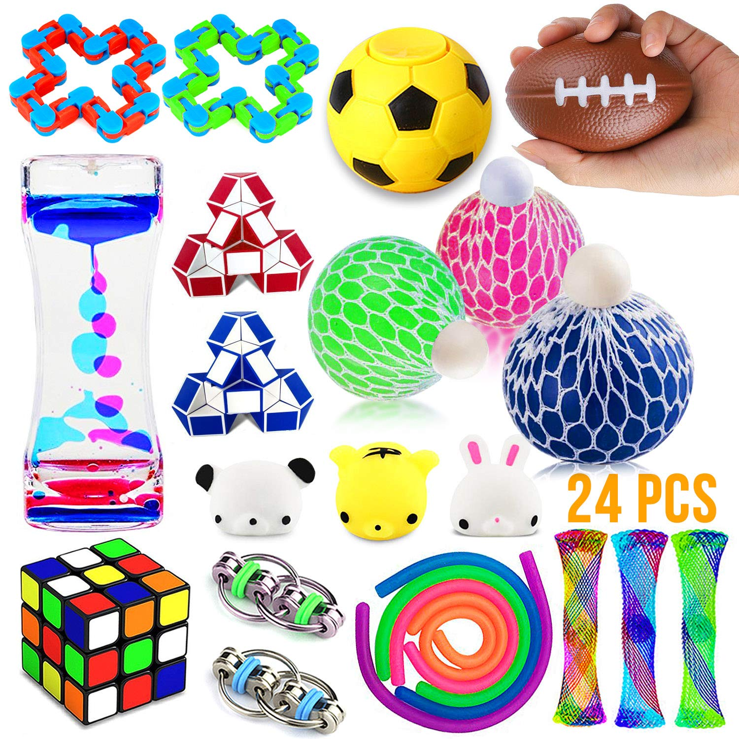 Fidget Toys Set, 24 Pack Sensory Tools Bundle for Stress Relief Hand Toys for Kids and Adults, Stretchy String/Liquid Motion/Cube/Twist Puzzle/Mesh Marble - Perfect for ADHD ADD Anxiety Autism by nobasco
