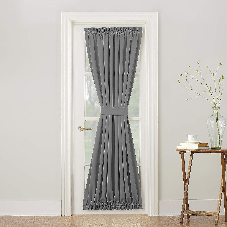 """Sun Zero Barrow Energy Efficient Door Panel Curtain with Tie Back, 54"""" x 72"""", Gray"""