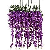 luyue Ratta Glicine vite artificiale per fiori di seta Matrimonio Partito Home Decor 1,4m, confezione da 6 Purple