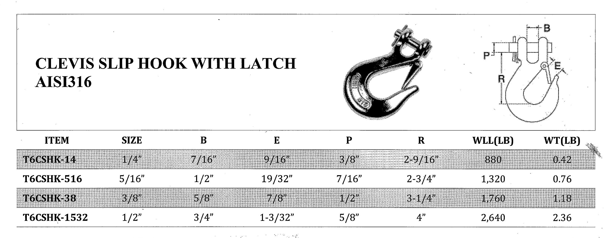 3/8'' Type 316 Marine Grade Stainless Steel Clevis Slip Hook with Safety Latch, Working Load Limit 1760 lb: 1, 2 and 5 pcs (5)