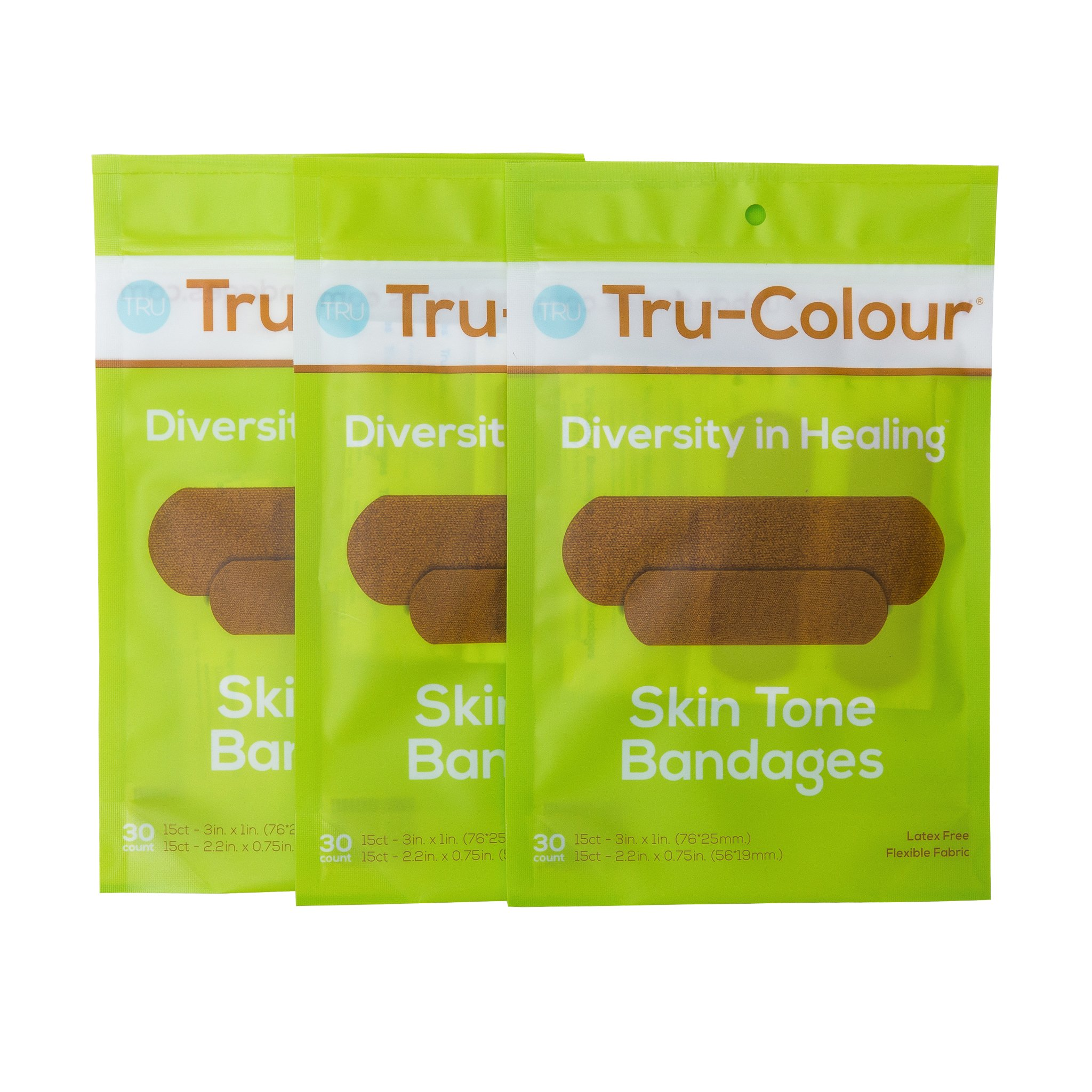 Tru-Colour Bandages Skin Tone Flexible Fabric Bandages (Green Bag) - 3 Pack (90 Count)