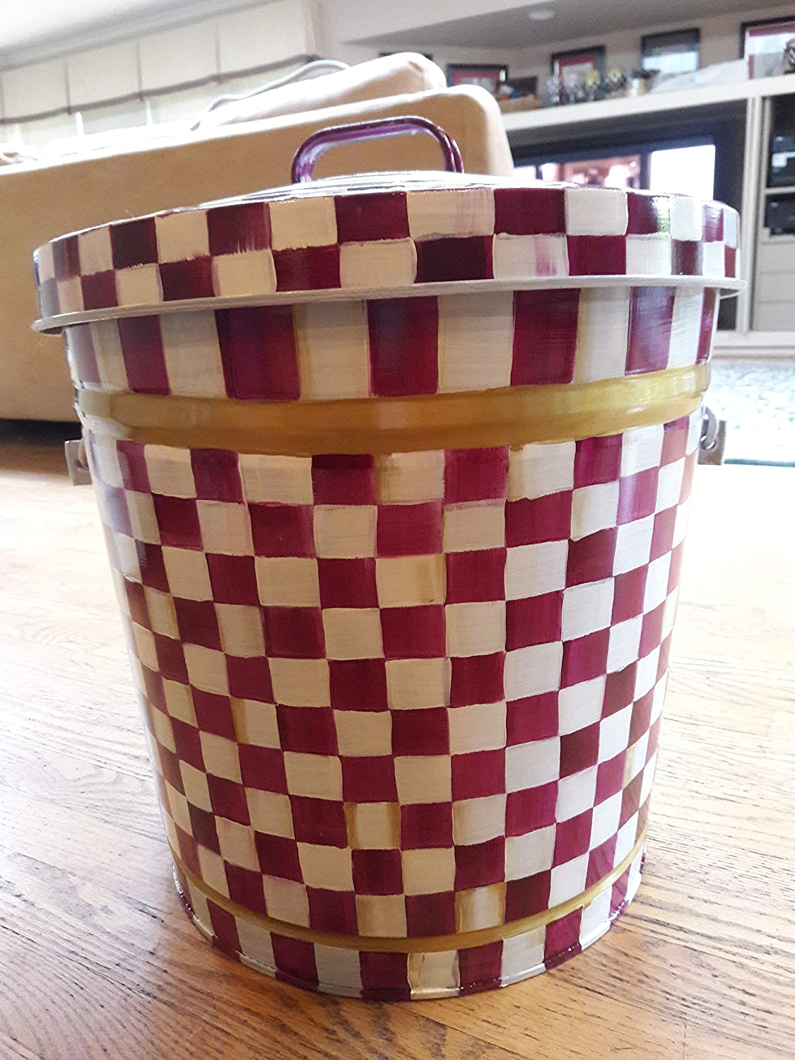 10 Gallon Hand Painted Decorative Trash Can Garbage Can