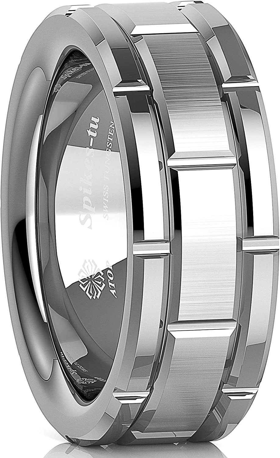 ATOP 8mm Silver Tungsten Ring for Mens Wedding Bands Brushed Brick Pattern with Groove Comfort Fit Male Bridal Engagement Ring