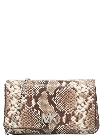 5c55f3e83de8 MICHAEL by Michael Kors Mott Python Effect Large Clutch Bag one size  Natural: Amazon.co.uk: Shoes & Bags