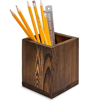 amazon com dark brown natural grain wood desktop pen pencil rh amazon com desk pen holder diy desk pen holder kit
