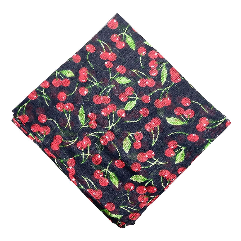 Freak Scene/® Sciarpa di cotone /° ciliegie /° stoffa quadrata