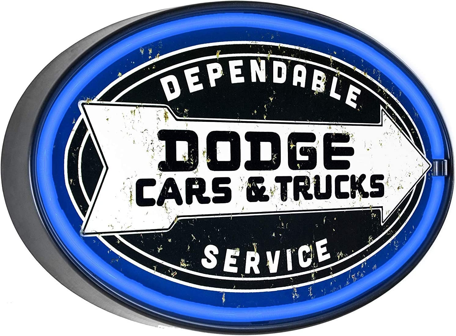 Dodge Cars & Trucks Dependable Service - Reproduction Vintage Advertising Oval Sign - Battery Powered LED Neon Style Light - Wall Decor for Home, Garage, Game Room, Or Man Cave - 16 x 11 x 2 Inches