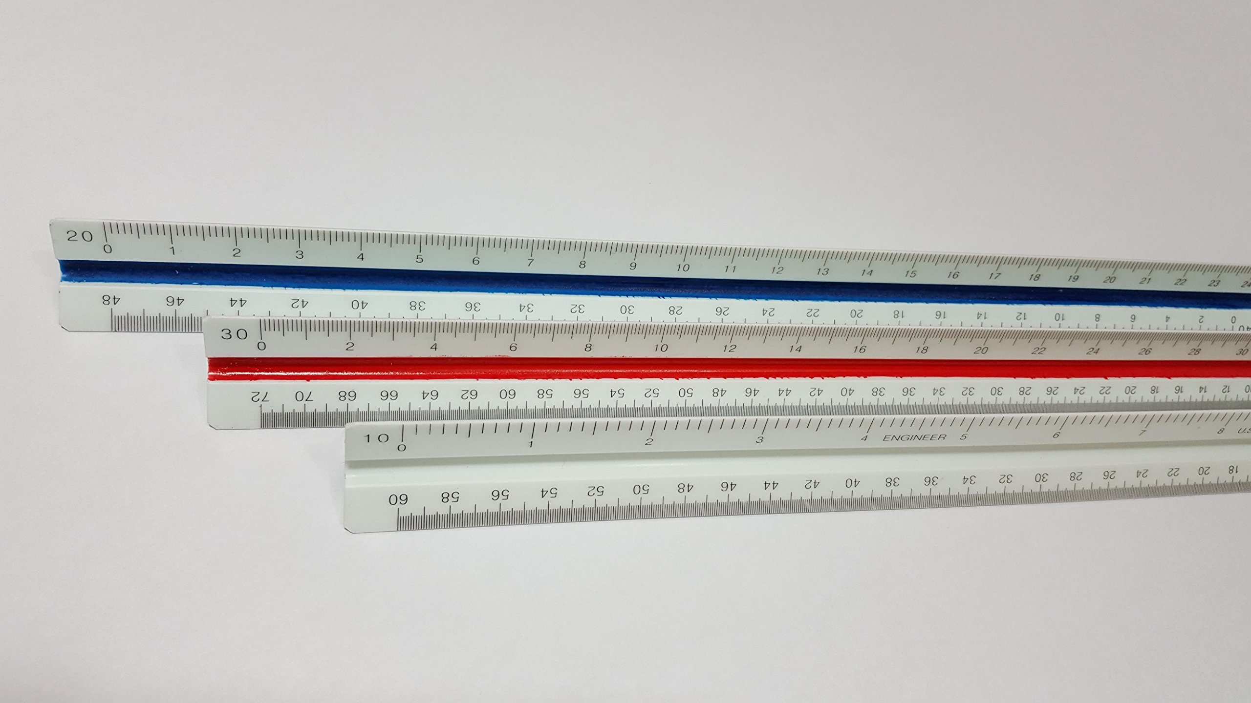 Triangular Engineering Scale Ruler by Ferocious Viking with Color-Coded Grooves with Fractions of an inch 1:10, 1:20, 1:30, 1:40, 1:50, 1:60
