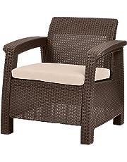 Keter Corfu 4 Piece Set All Weather Outdoor Patio Garden Furniture w/Cushions, Charcoal