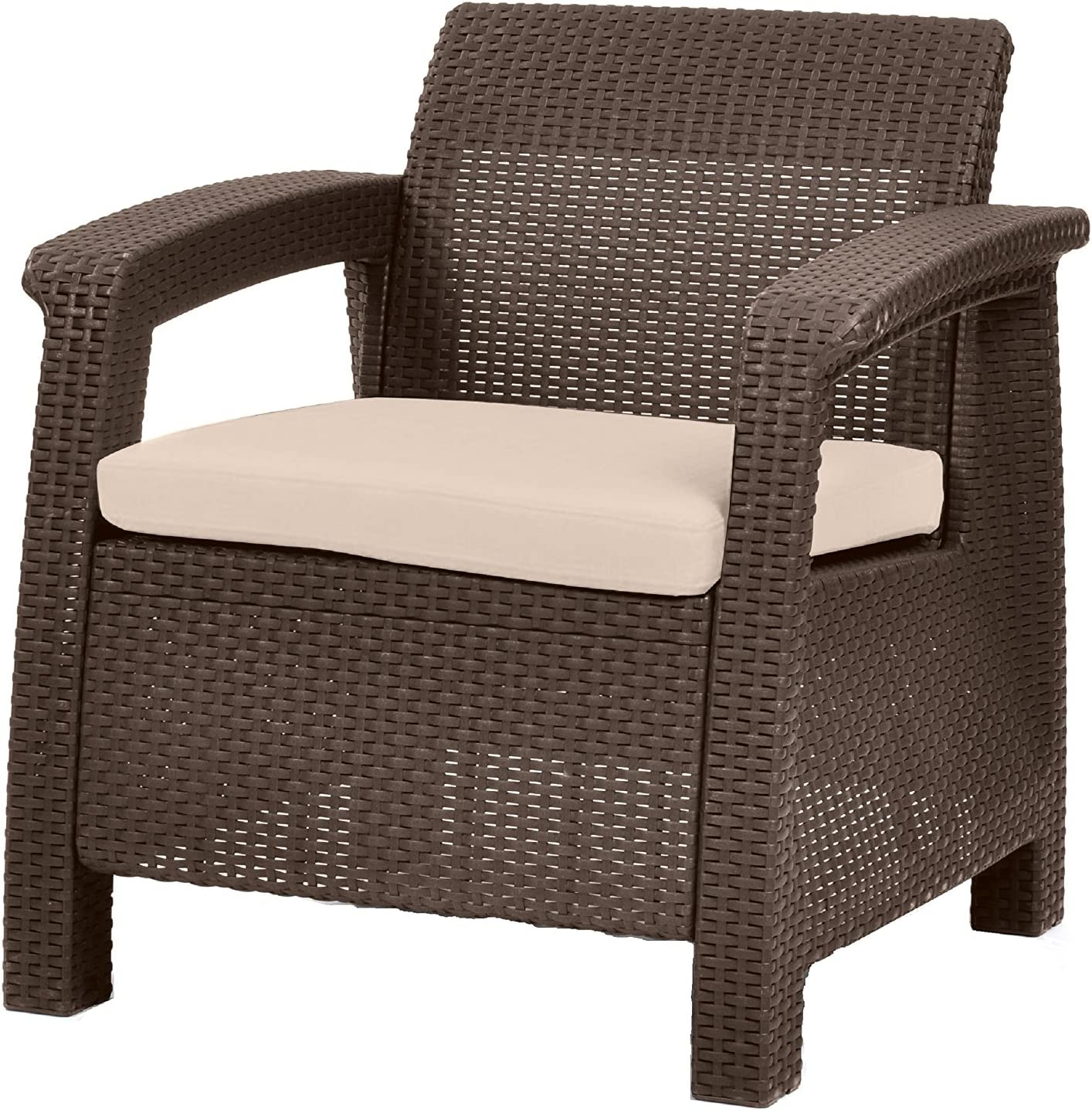 Keter Chair for Outdoor Seating with Washable Cushion - Perfect for Balcony, Deck, and Poolside Furniture Sets, 31 x 27, Brown : Patio Lounge Chairs : Garden & Outdoor