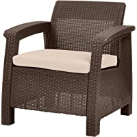 Keter Chair for Outdoor Seating with Washable Cushion - Perfect for Balcony, Deck, and Poolside Furniture Sets, 31 x 27, Brown