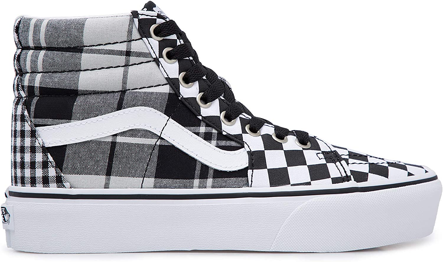 Vans SK8 HI Platform 2 (Plaid Checkerboard) BlackTrue White