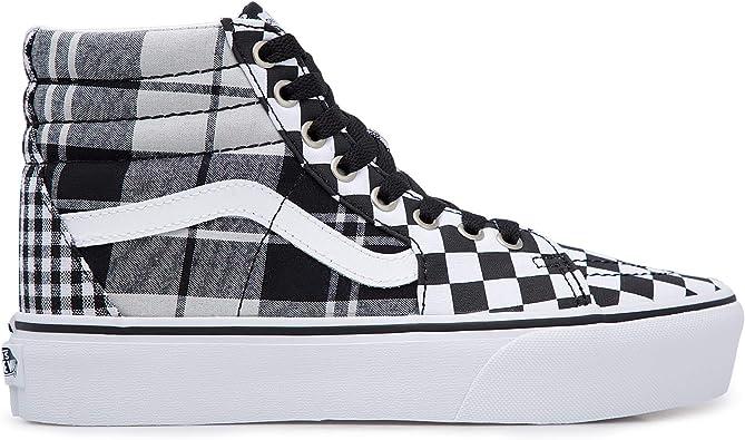 Canvas High Top Sneaker Casual Skate Shoe Boys Girls Waffle Plaid Pattern Print