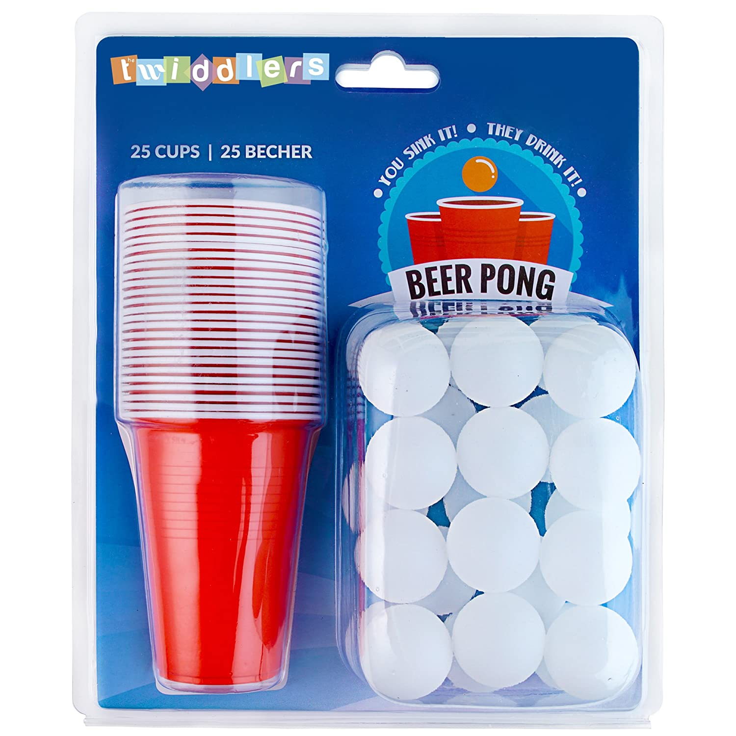Iconic Red American Beer Pong Set – 25 Cups and 25 Balls – Perfect for Christmas Party Fun and Games The Twiddlers