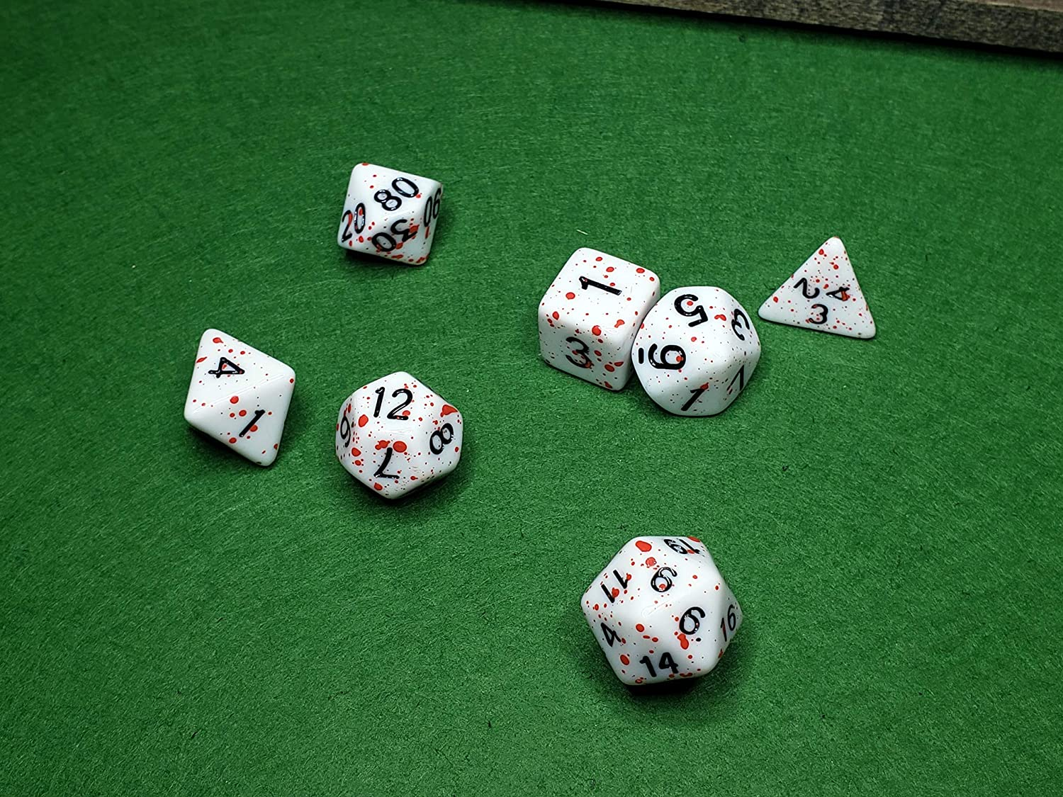 Eitri Bloody Dice Polyhedral 7-Die Set Role Playing Game RPG White Red Zombie Gore