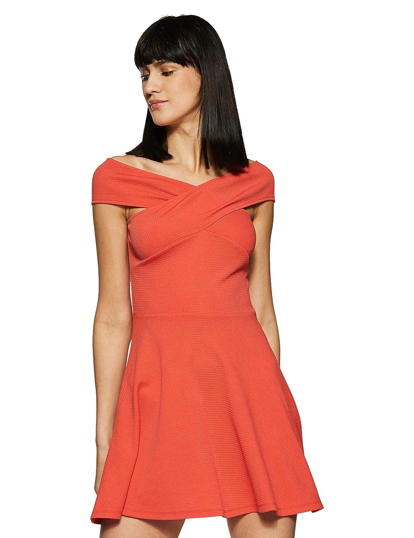 Veni VIDI VICI Coral Bandage Bardot Skater Dress  Amazon.in  Clothing    Accessories 7eb7955af