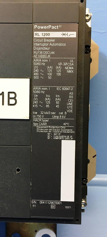 Square D Rlf36120cu44 Rl 1200 Amp Powerpact Circuit Breaker 1200a Qo120gficp 20amp 1pole Gfci Rl1200 Lsig Industrial Scientific