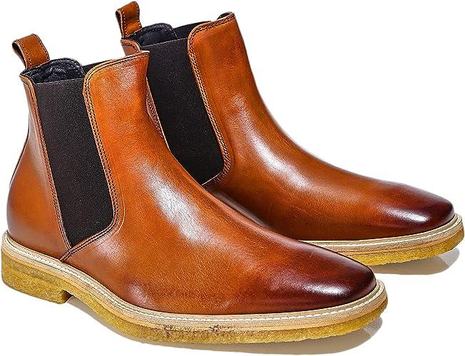 Joss Men's Leather Chelsea Boots Cognac