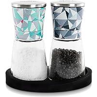 Eparé Ensemble de moulin à poivre et sel–Broyeur en céramique réglable pour Rose de l'Himalaya Sels de la mer et de grains de Poivre noir–Spice Container avec support