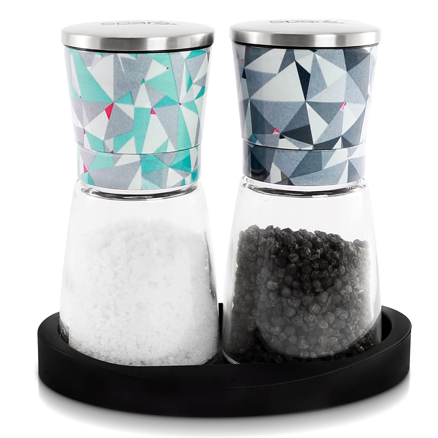 Eparé Salt and Pepper Mill Set - Adjustable Ceramic Grinder for Pink Himalayan Sea Salts & Black Peppercorns - Spice Container with Stand EPSPM008