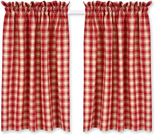 Cackleberry Home Red and Cream French Check Cafe Curtains Woven Cotton Jacquard 28 Inches W x 36 Inches L, Set of 2