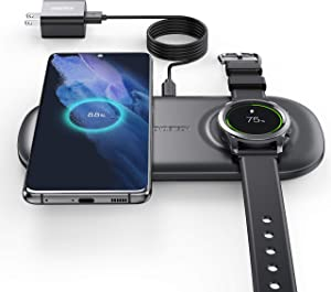 CHOETECH Wireless Charger, 2 in 1 Wirelss Charging Station for Samsung Galaxy Watch 3/ Active/Gear S3/ Sport, Galaxy Buds, S21 Ultra/ S21+/ S20 FE/ S20, Note 20/10 [ with Adapter, Not for iWatch ]