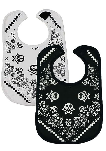 2 baberos de bebé con diseño de estrella de rock para bebés y niñas de BABY MOOS (2 unidades, 1 blanco, 1 negro de 0 a 3 años), ideal como regalo ...