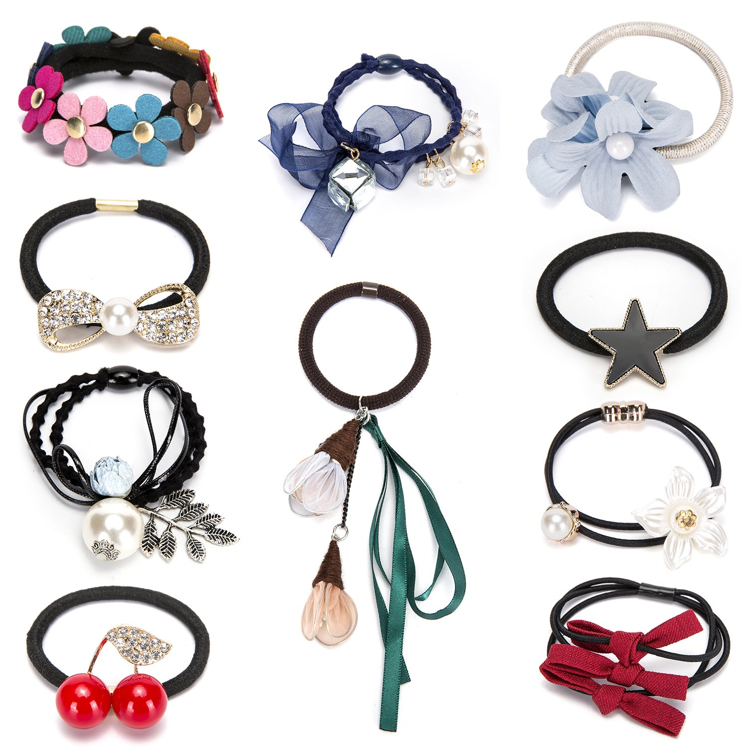 HY Fancy 7pc/10pc Stylish Stretch Hair Ties of Comfortable Elastic Cotton. These Cute Luxurious Hair Band Ponytail Holders are the Favorite Headband Scrunchie for Women and Girls (10 PCS:charming-02)