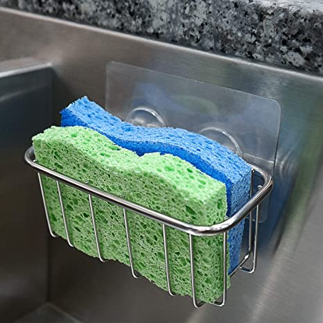 Amazon Com The Crown Choice Best Sponge Holder For Kitchen Sink With Strong Adhesive Fits Two Sponges Stainless Steel Sink Caddy For Dish Sponges Kitchen Dining