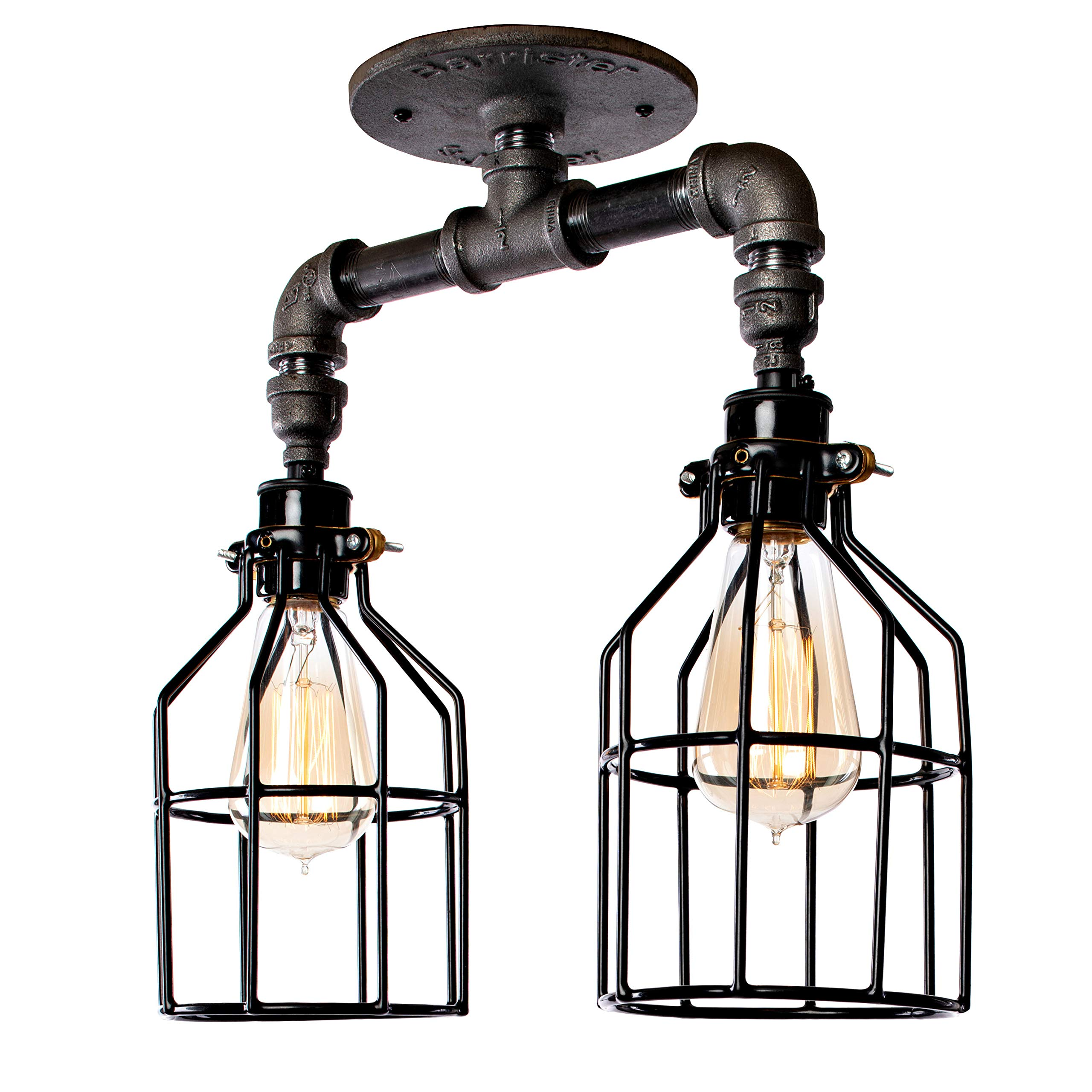 Vintage Industrial Light Fixture - Flush Mount, Hanging, Canopy Lighting with Edison Cages and Modern Pipes - Great in Kitchen, Bar, Island, Dining Room, and Foyer - Black with Two Lights