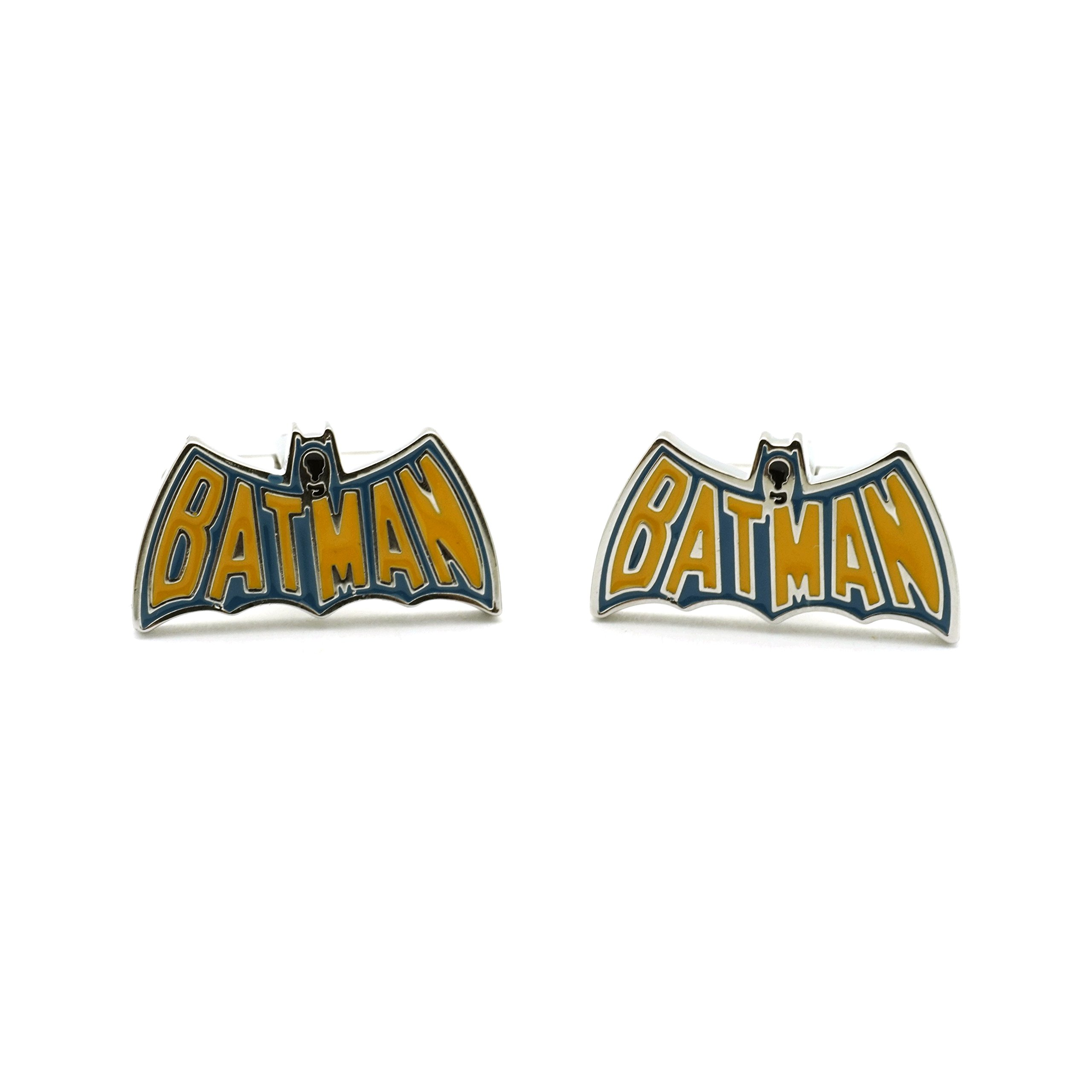 Teri's Boutique Super Hero Batman Men's Fashion Jewelry Wedding Business Cuff Links w/ Gift Box (Blue Yellow)