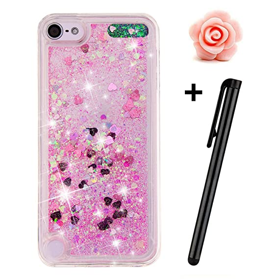 super popular 4f7a4 5e330 iPod Touch 5 Case,iPod Touch 6 Liquid case,TOYYM 3D Creative Glitter Liquid  Bling Transparent Sparkle Floating Soft TPU Case Cover for Apple iPod ...