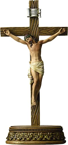 Renaissance Collection 6 x 8.5 Inch Resin Stone Tabletop Corpus Crucifix Cross