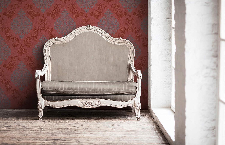 Creme A.S.Cr/éation Memory papier peint in-tiss/é n/éo baroque glamour classique 10,05 m x 0,53 m L/änge x 0,53 m Wei/ß 10,05 m Breite Metallic