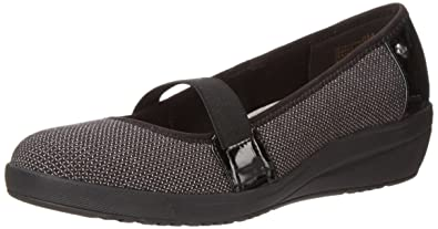 Anne Klein Sport Women's Yahaira Fabric Wedge Pump, Black/Hay heather fabric  , 8