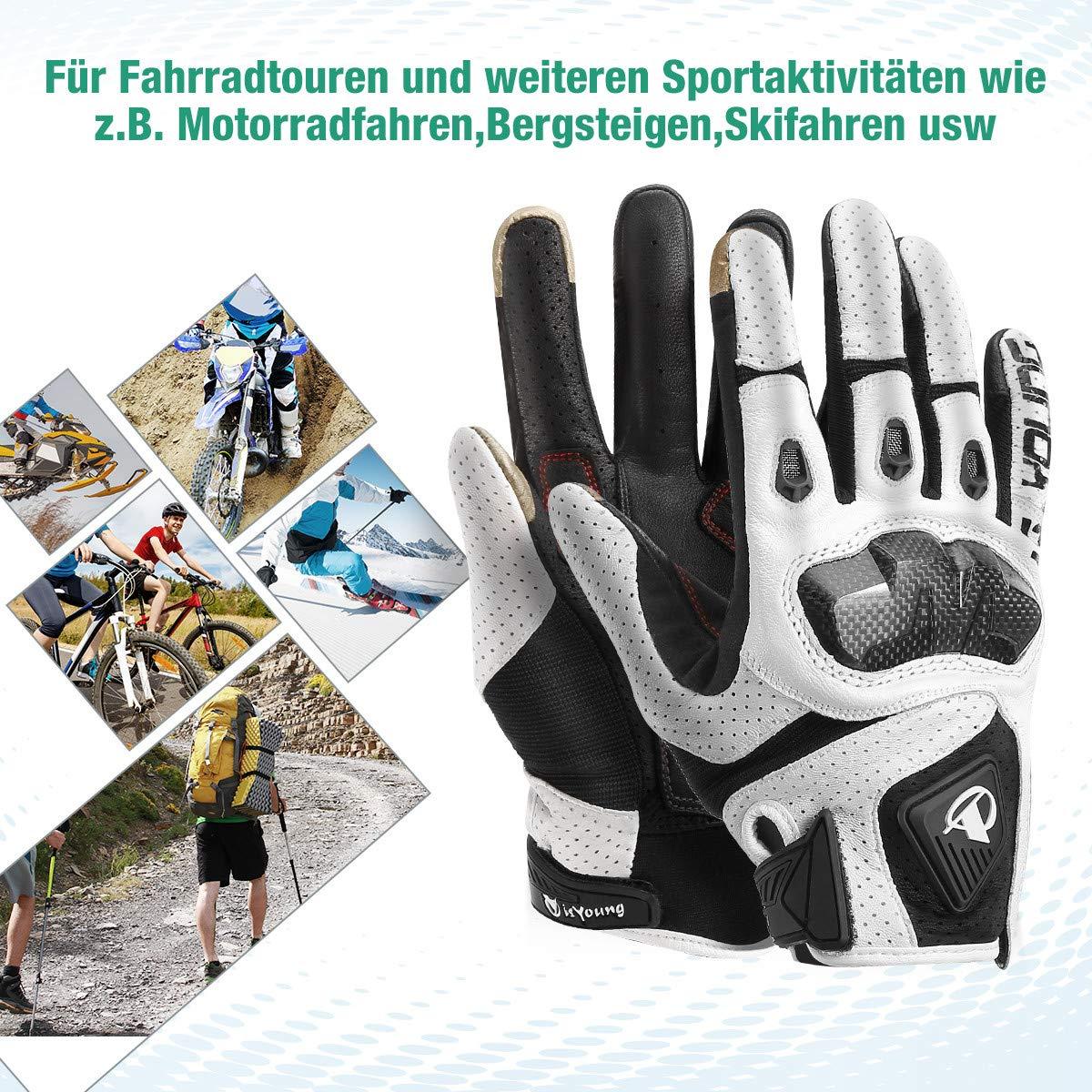 isYoung Touchscreen Fahrradhandschuhe geeiget für Radsport MTB Road Race Motorrad Wandern und andere Sports Unisex Herren Damen L Weiß