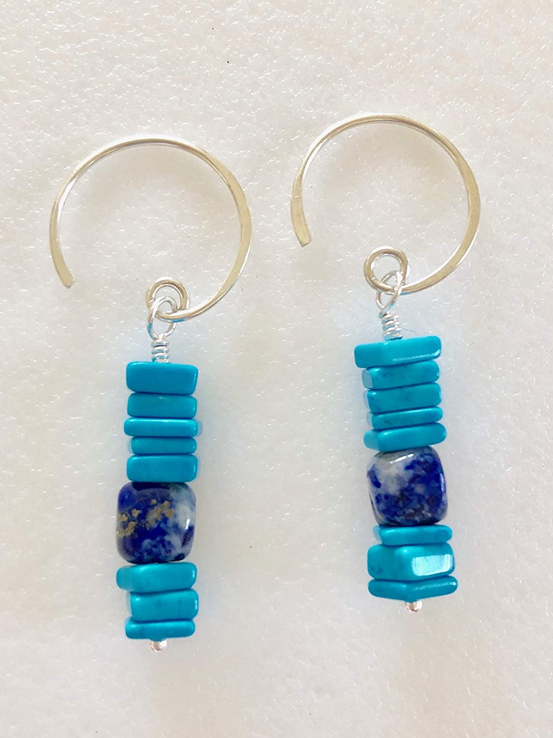Turquoise and Lapis Natural Healing Gemstone Earrings with Sterling Silver Wires