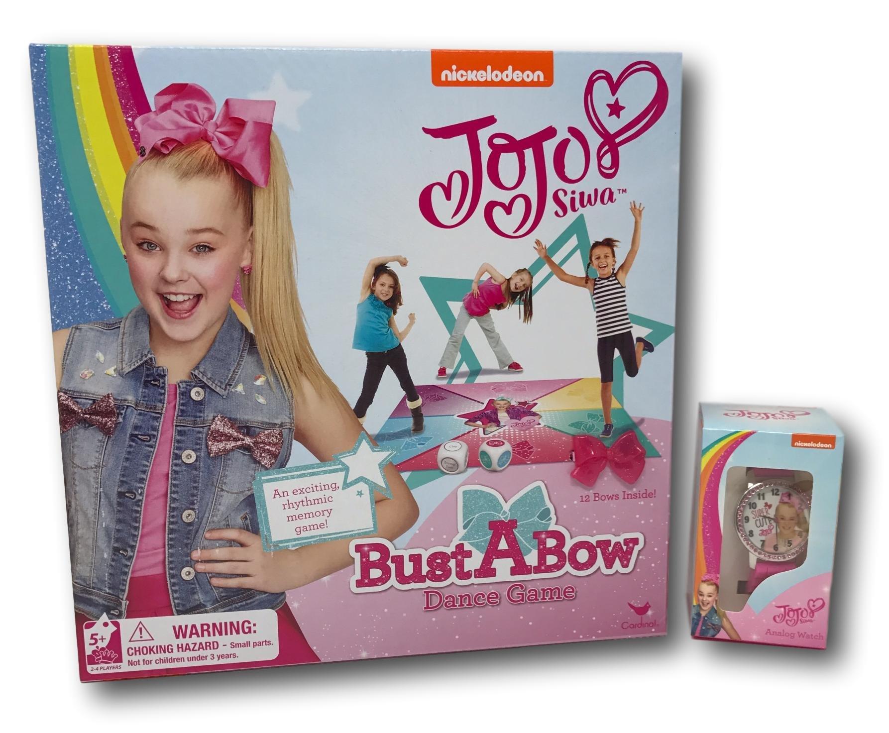 JoJo Siwa BustABow Dance Game and Pink and White Rhinestone Super Cute JoJo Watch Bundle