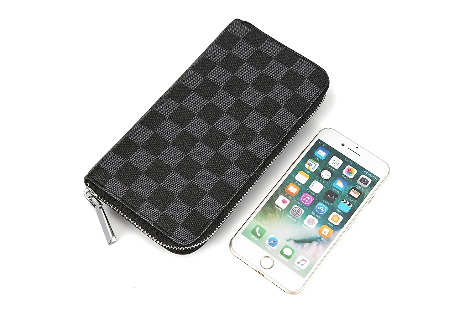 Daisy Rose Womens Checkered Zip Around Wallet and Phone Clutch - RFID Blocking with Card Holder Organizer -PU Vegan Leather
