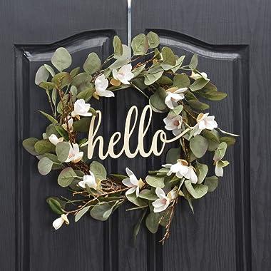 QUNWREATH Handmade 15 inch Lily Series Wreath,Green Leaf,Hello Letter,Fall Wreath,Wreath for Front Door,Rustic Wreath,Farmhouse Wreath,Grapevine Wreath,Light up Wreath,Everyday Wreath,QUNW26